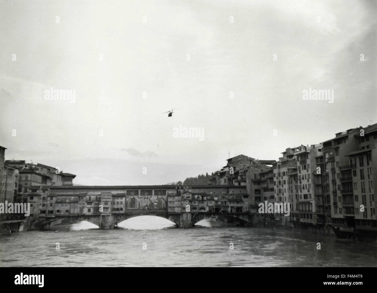 Flood of November 1966, a reconnaissance helicopter, Florence, Italy - Stock Image