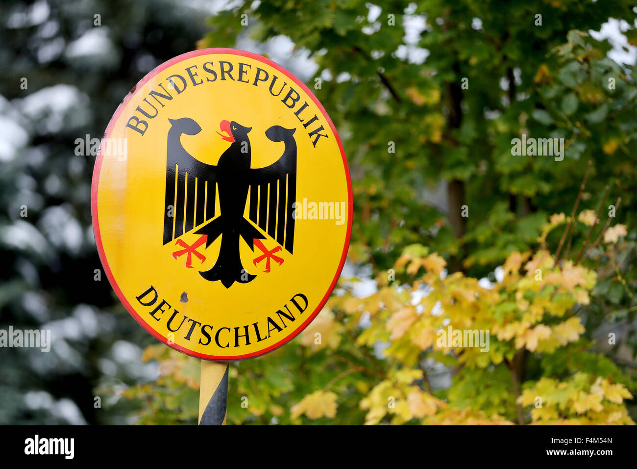 A sign that reads 'Bundesrepublik Deutschland' (Federal Republic of Germany) pictured at the Czech-German border Stock Photo