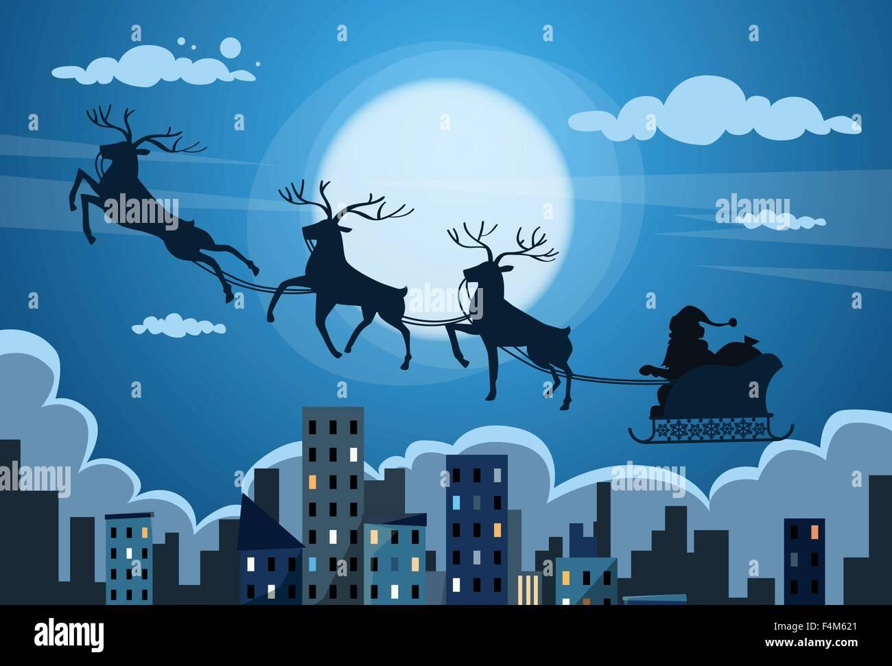Santa Claus Sleigh Reindeer Fly Sky over City Skyscraper Night View Cityscape Snow Skyline Christmas New Year Card - Stock Image