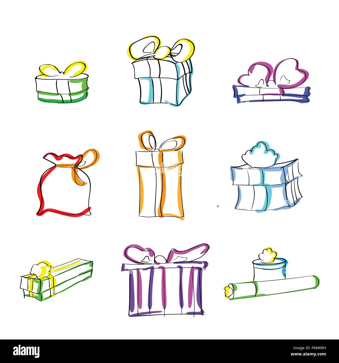 Gift Box Present Sketch Hand Draw Thin Line Colorul Icon Set Stock