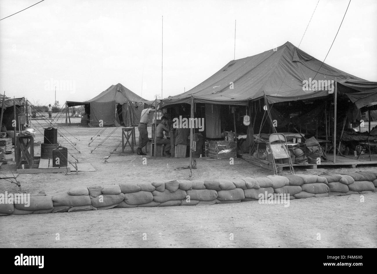 sandbags at tent at a first infantry division base camp in 1965