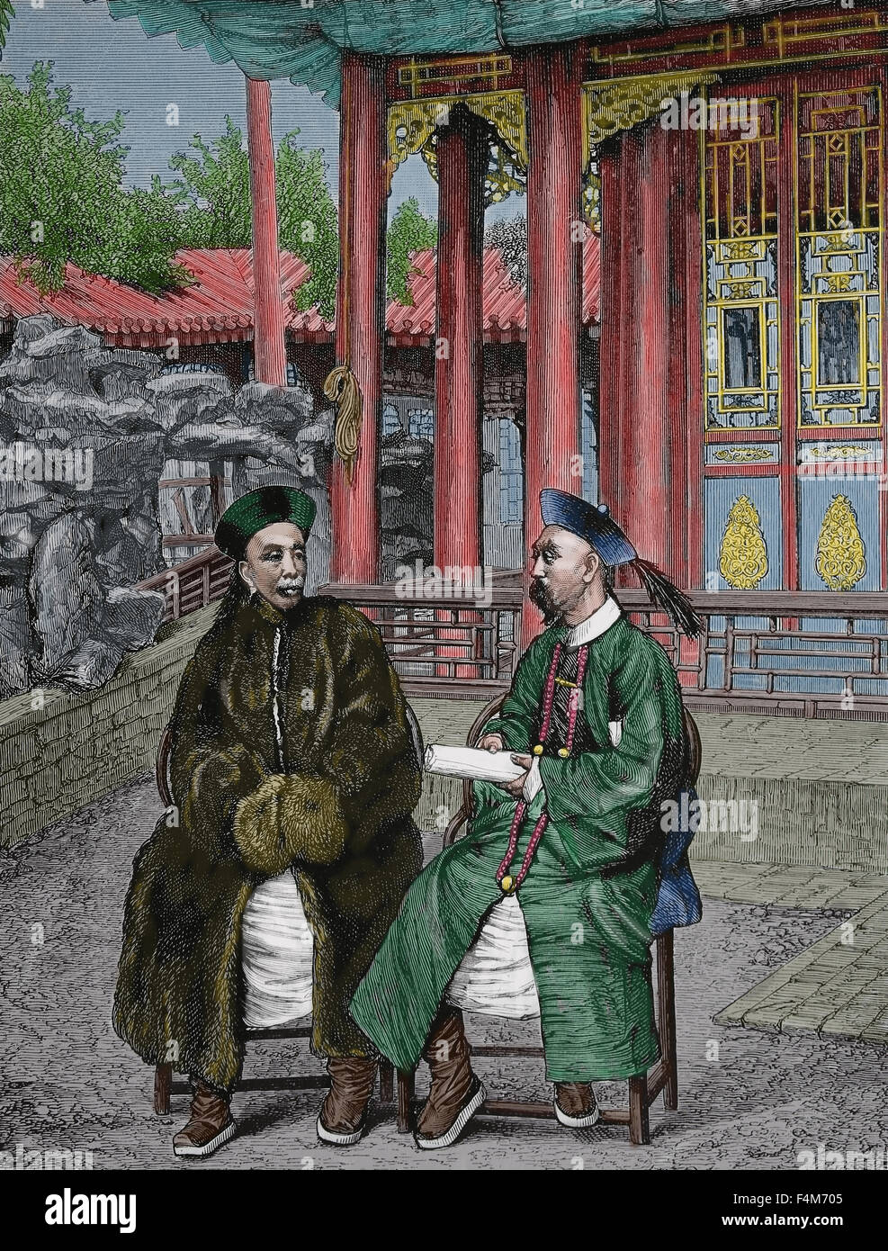 Asia. China. High Chinese officials, 1900. Engraving, 19th century. Color. - Stock Image