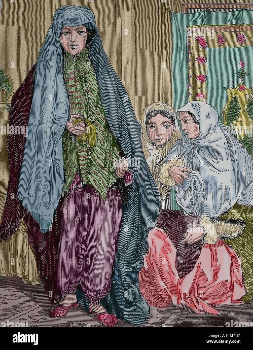 Asia. Persia. Persian ladies, 1880. Engraving, 19th century. Color. - Stock Image