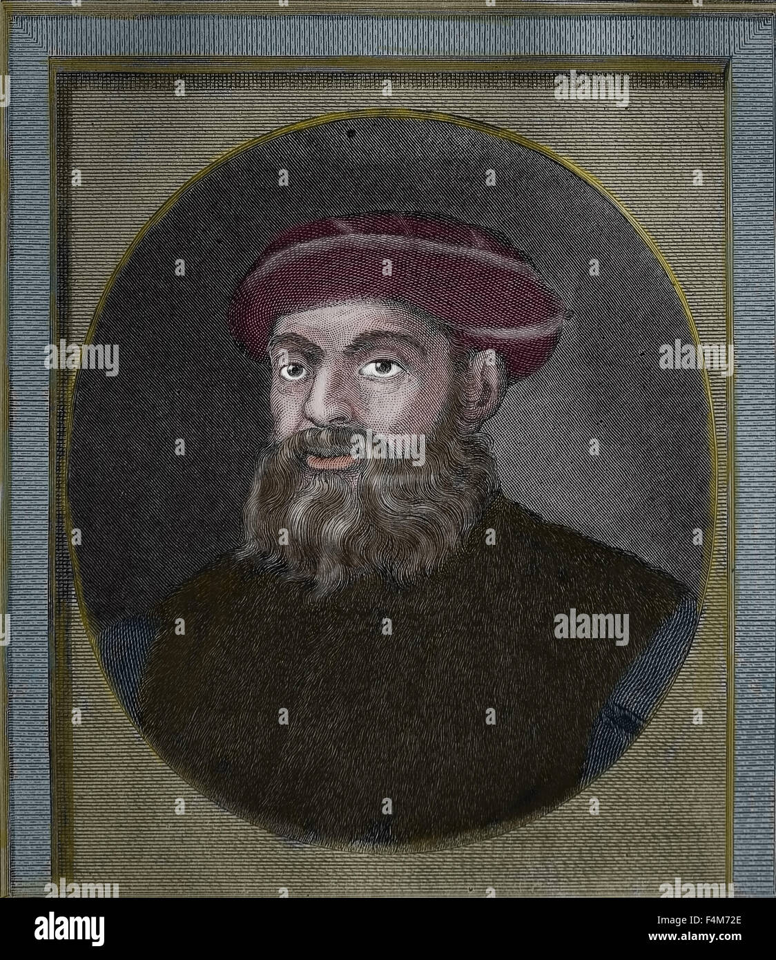 Ferdinand Magellan (1480-1521). Portuguese explorer. First Circumnavigation of the Earth. Portrait. Engraving by - Stock Image