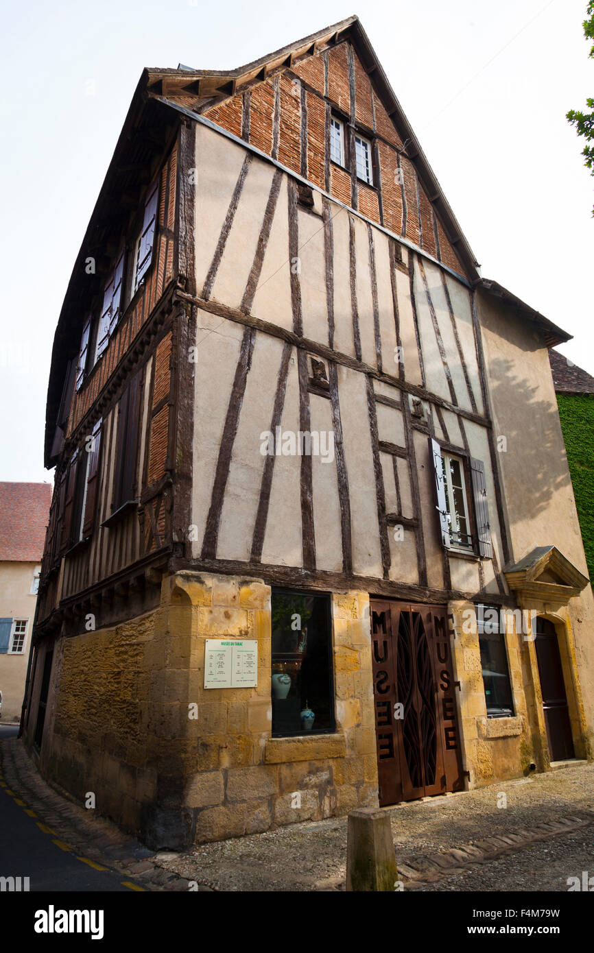 Old timber frame building in the Place Doublet, Bergerac