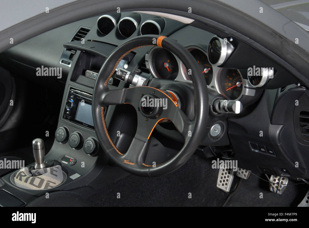 sports car interior nissan 350z tuned car stock photo. Black Bedroom Furniture Sets. Home Design Ideas