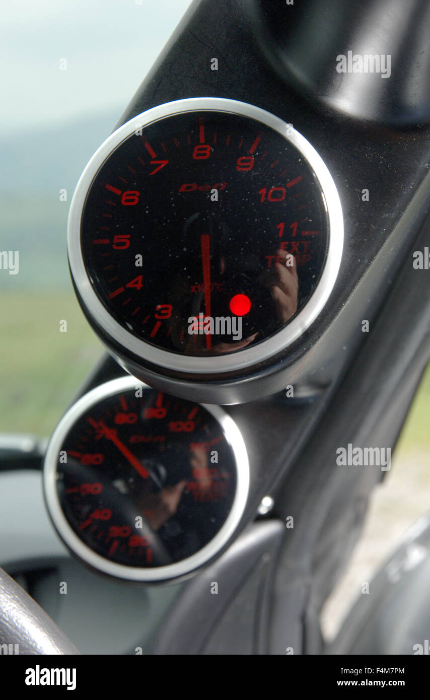 Auto Engine Gauges : Sports car engine gauges mounted on the a pillar nissan