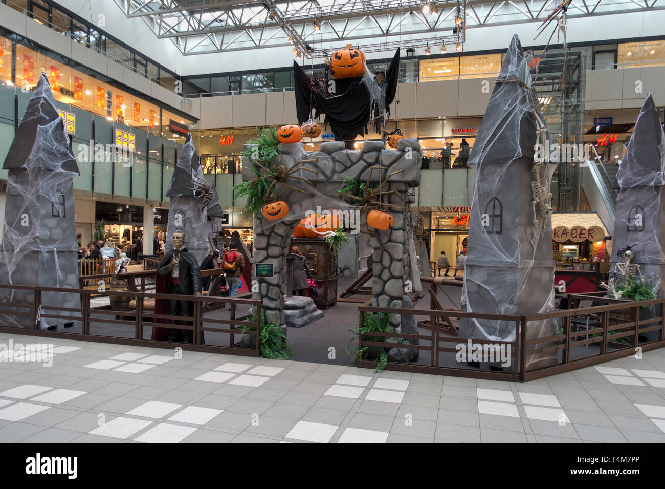 Spooky Halloween display and adventure playground in Lyngby Storcenter - a shopping centre just north of Copenhagen, - Stock Image