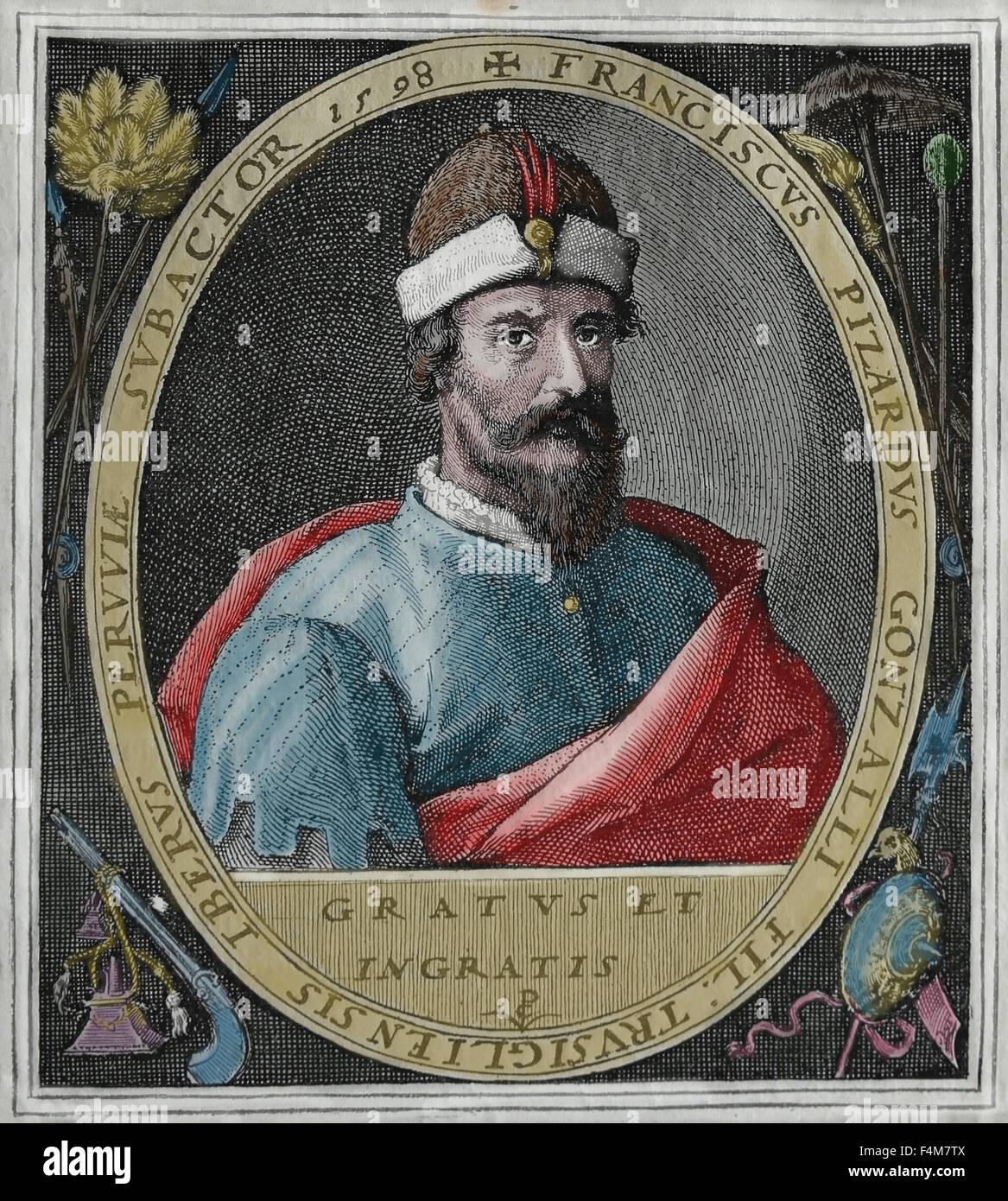 Francisco Pizarro (1471-1541). The Spanish conqueror of the Inca Empire. Portrait. Engraving, 16th century. Later - Stock Image
