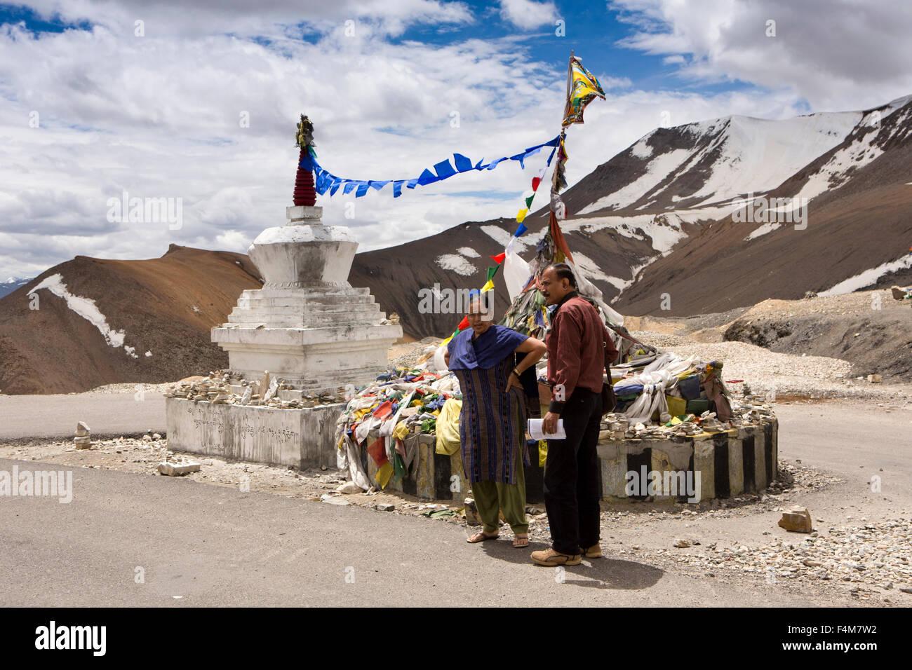 India, Jammu & Kashmir, Ladakh, Taglang La pass top, Indian tourists at 17,582, foot (5328m) summit - Stock Image