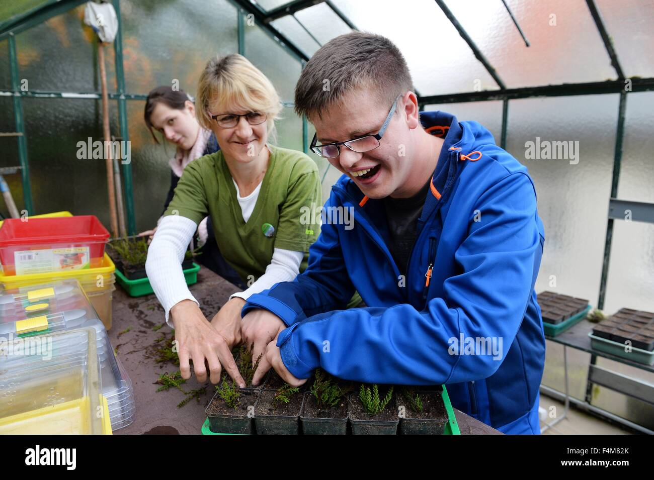 Handicapped  man Christoph Schmidt (right) works together with a non handicapped woman in a garden, Germany, city Stock Photo
