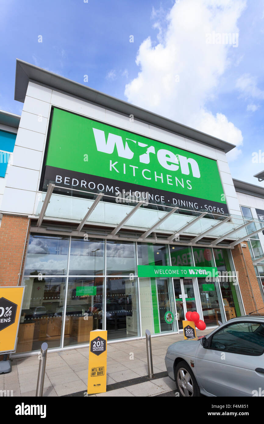 Exterior of Wren Kitchens store without people - Stock Image