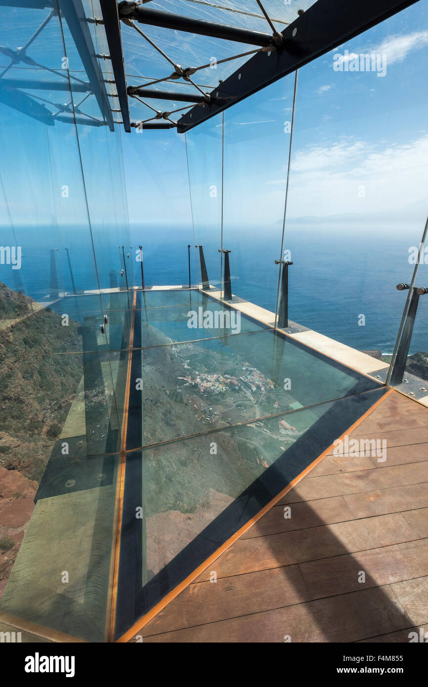 The Mirador De Abrante With Its Glass Floor Projecting Out From Clifftop Above Agulo La Gomera Canary Islands Spain