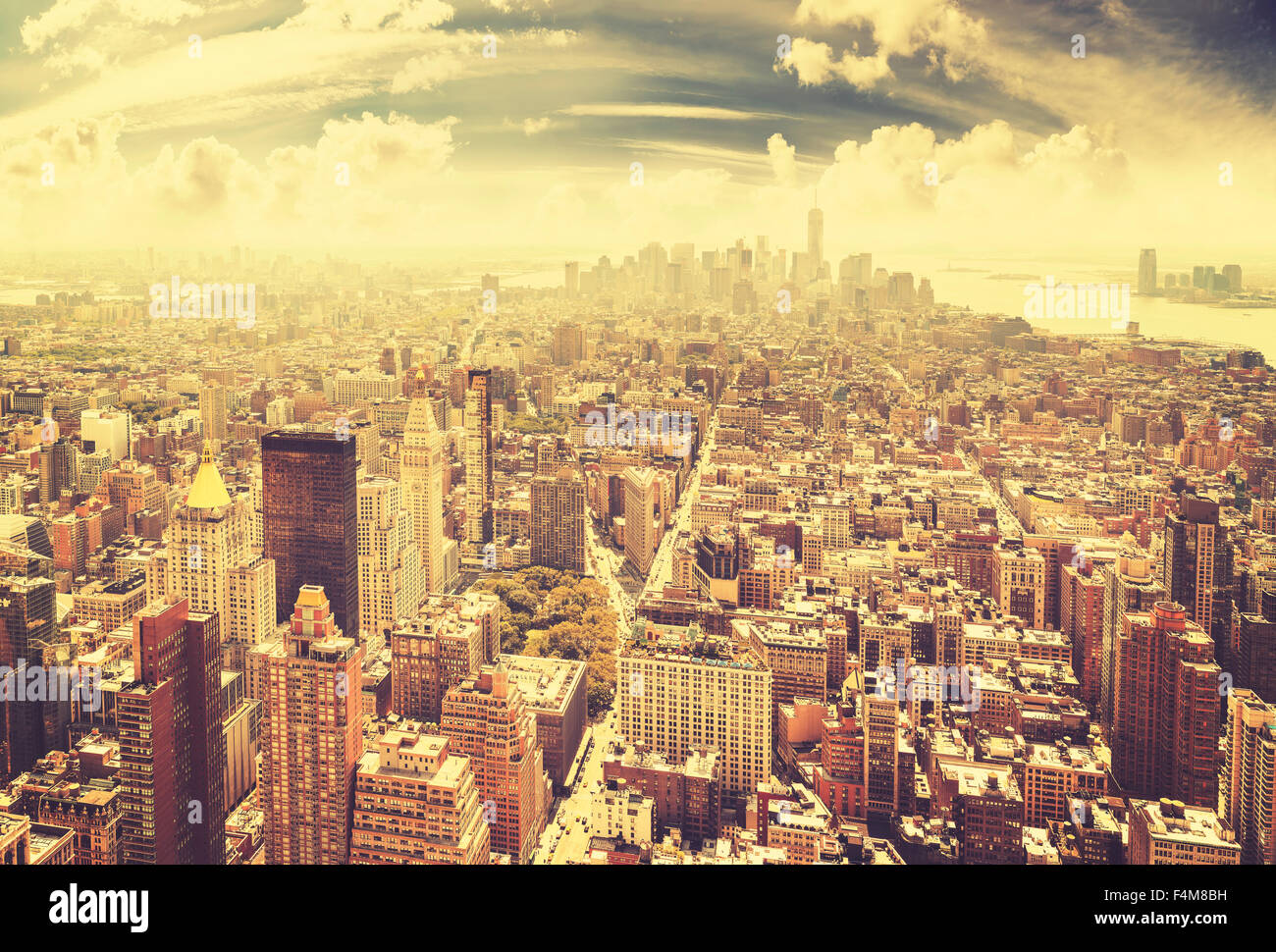Vintage toned Manhattan skyline, New York City, USA. - Stock Image