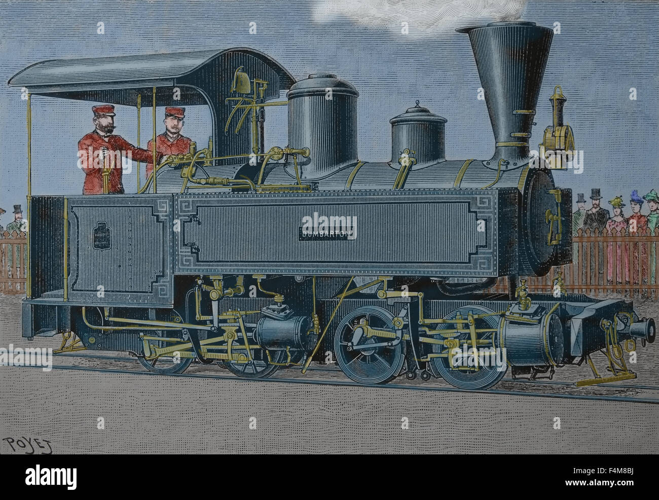 Steam locomotive. 19th century. Engraving. Later colouration. Stock Photo