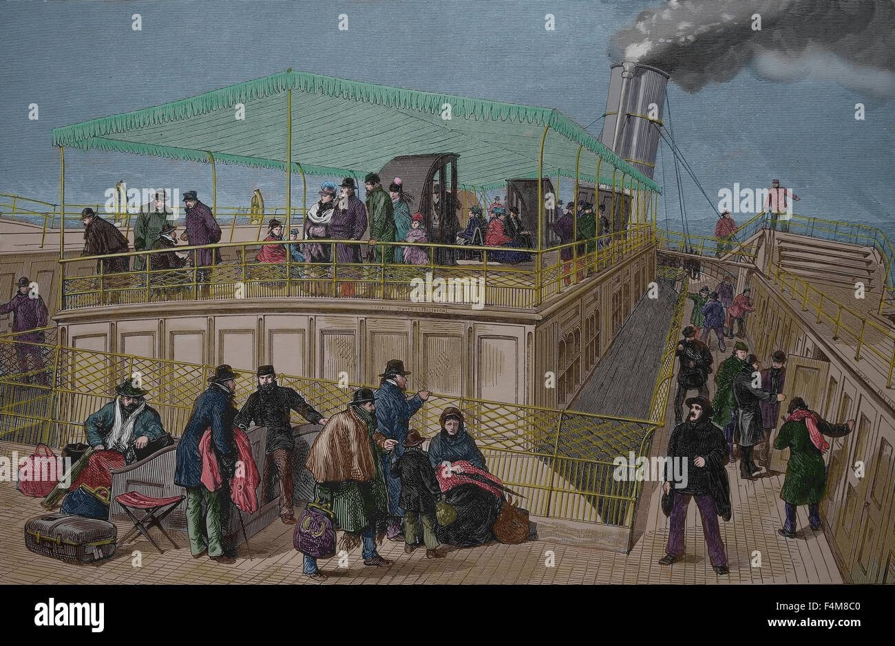 On board the emigrant ship. 19th century. Engraving. Color. - Stock Image