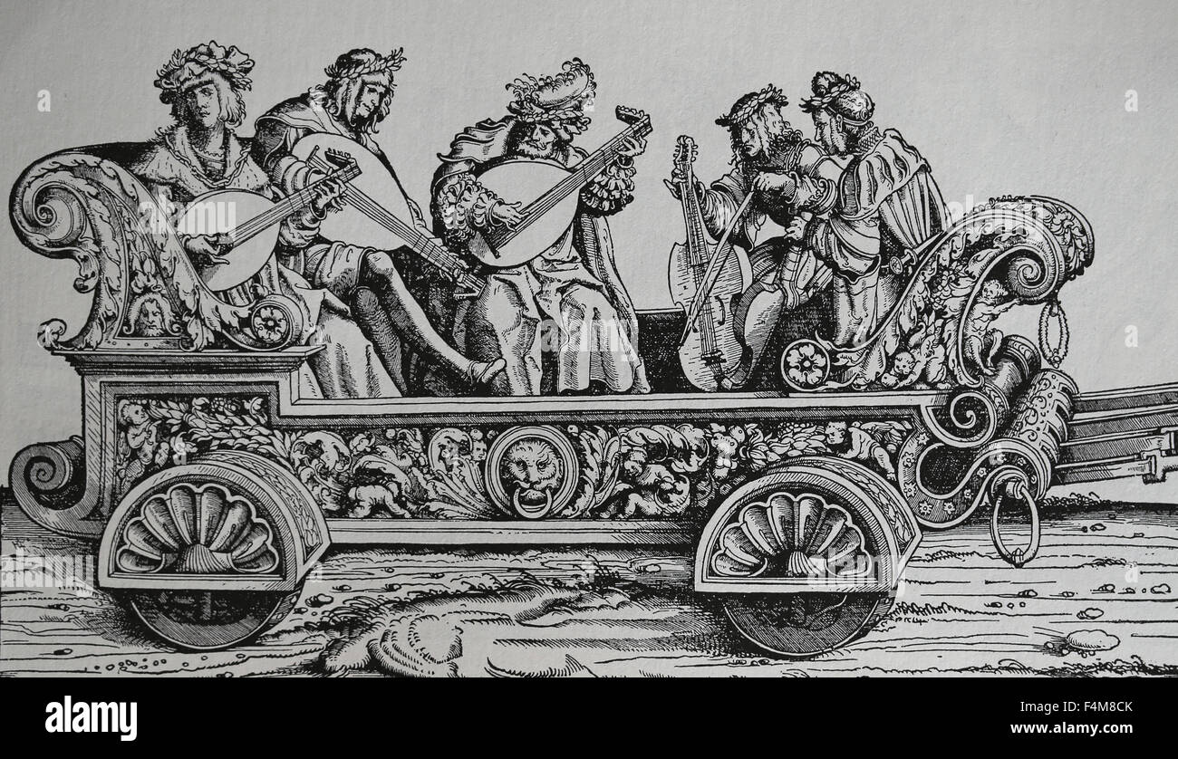 Europe. Italy. Carriage with musicians playing different musical instruments. Renaissance. Engraving. - Stock Image