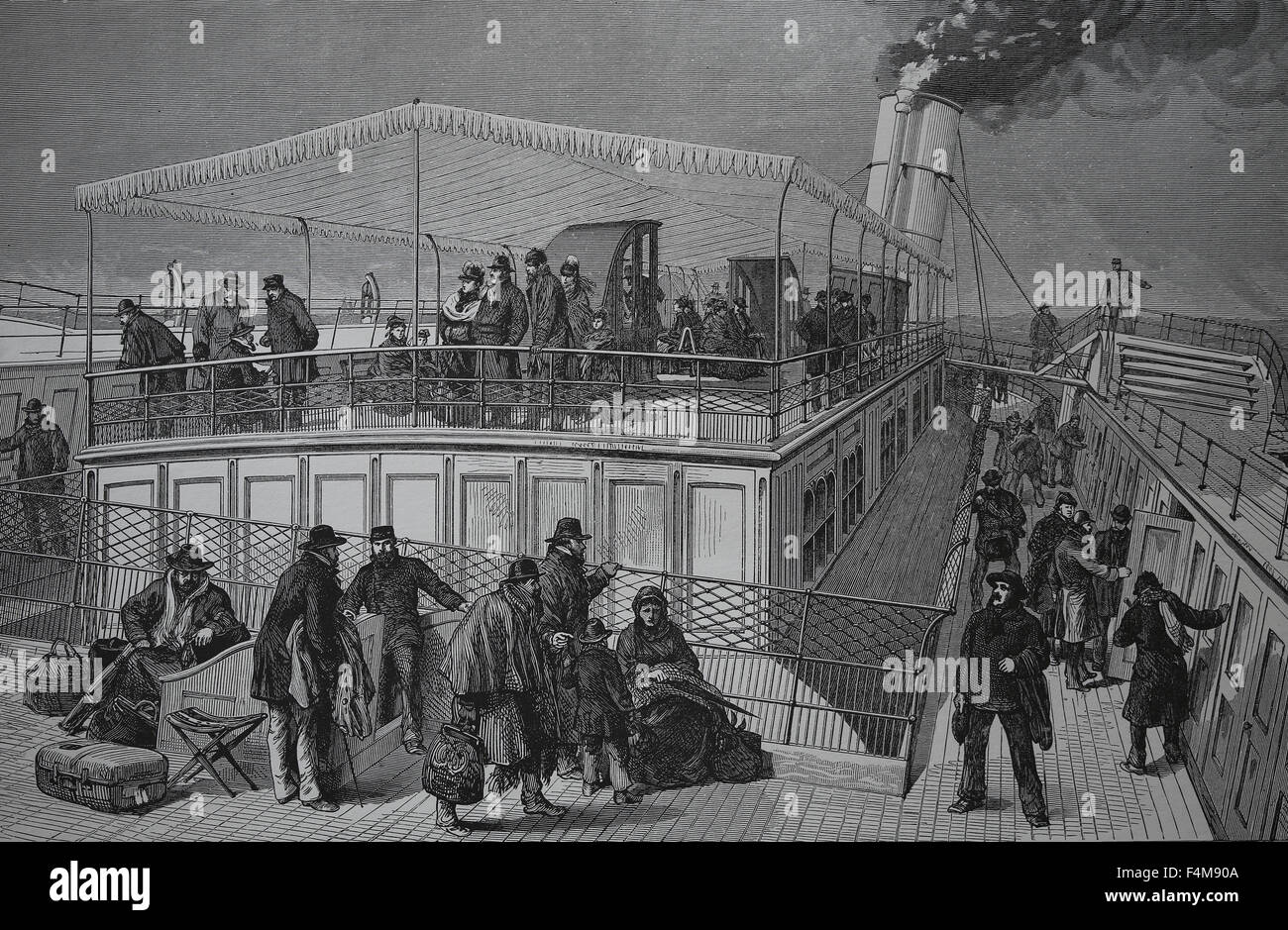 On board the emigrant ship. 19th century. Engraving. - Stock Image