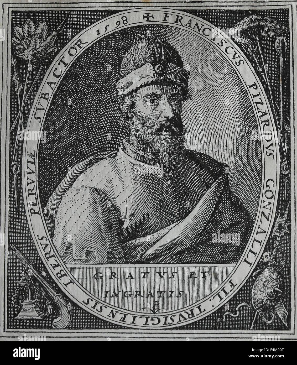Francisco Pizarro (1471-1541). The Spanish conqueror of the Inca Empire. Portrait. Engraving, 16th century. - Stock Image