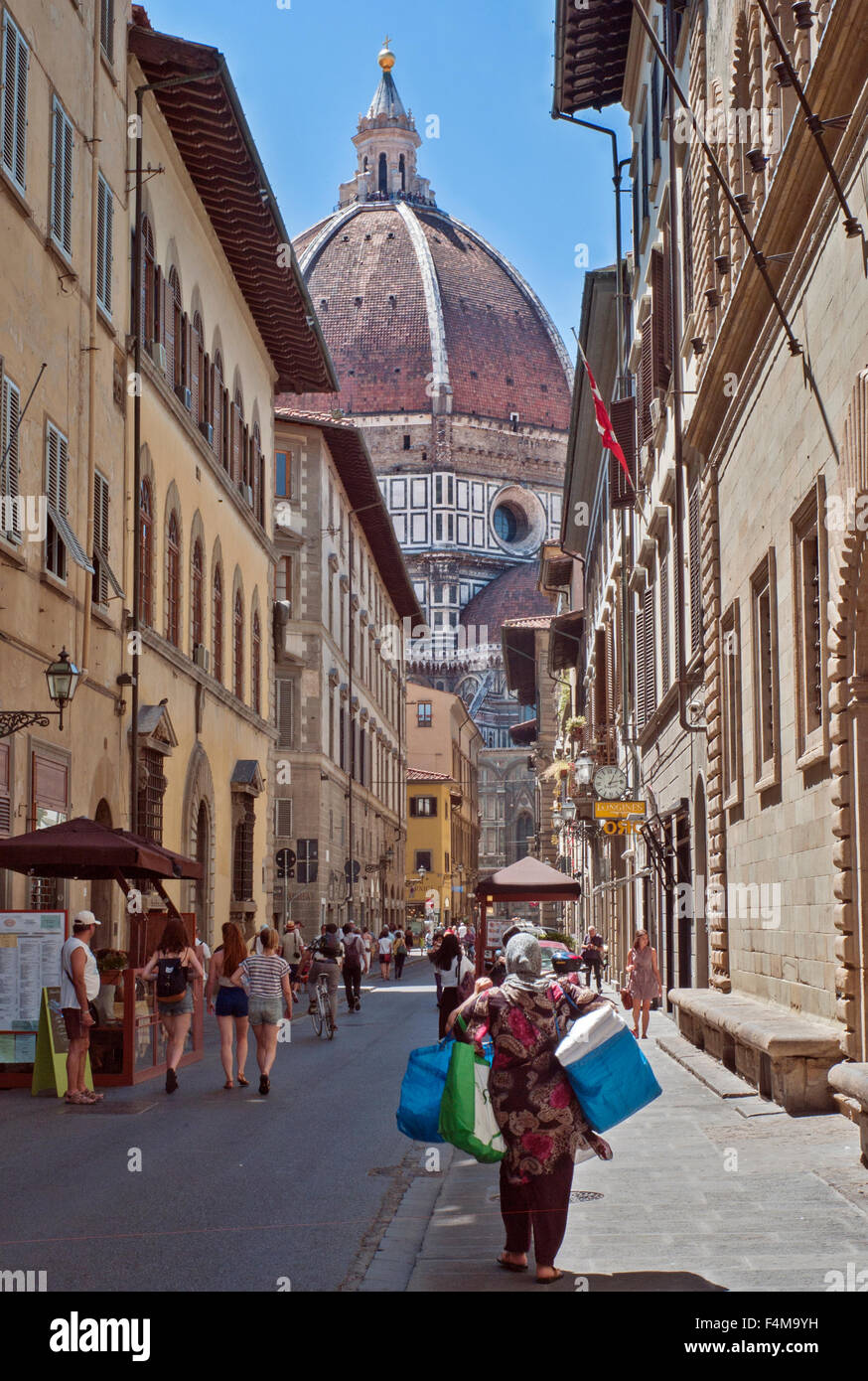 street view of Cathedral of Saint Mary of the Flowers or Il Duomo di Firenze - Stock Image