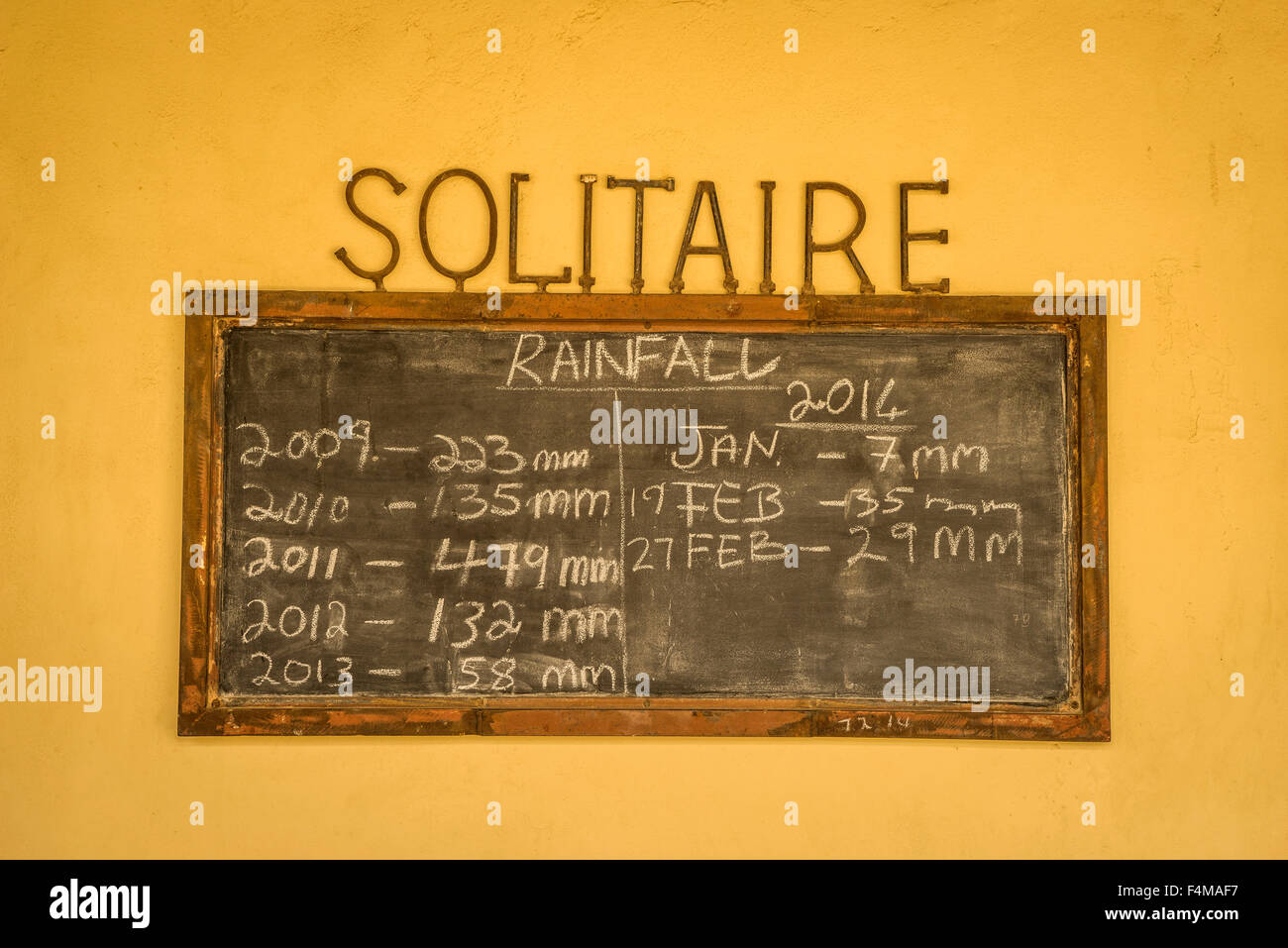 Blackboard showing the rainfall totals in Solitaire, a small settlement in the Khomas Region of central Namibia, - Stock Image