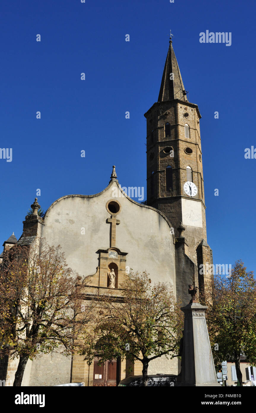 Church in the centre of Massat, Ariege, Midi-Pyrenees, France - Stock Image