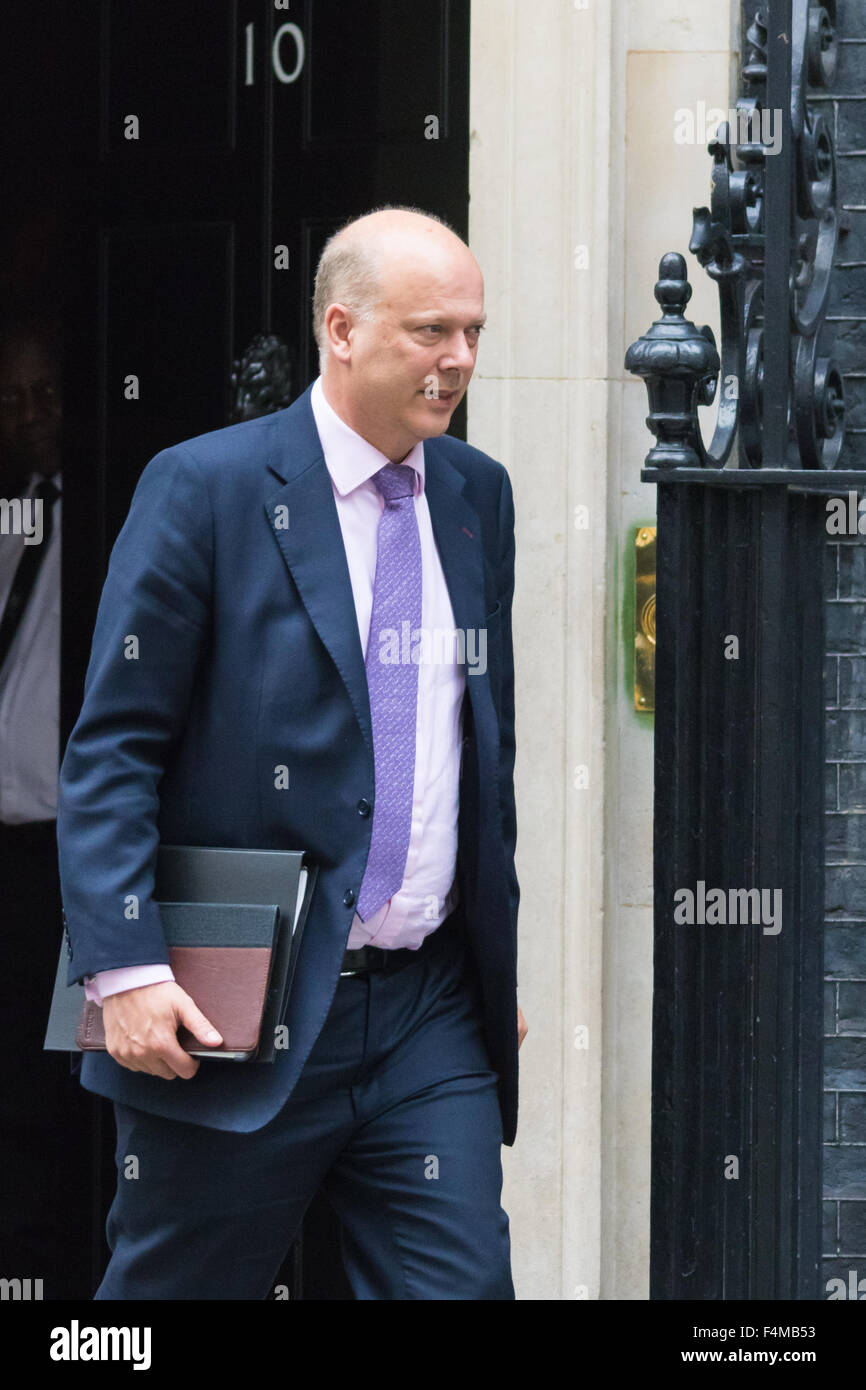 Downing Street, London, October 20th 2015. Leader of the Commons Chris Grayling leaves 10 Downing Street after attending - Stock Image