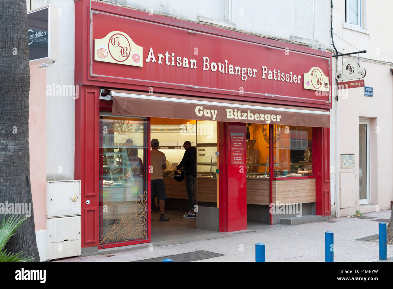 The Guy Bitzberger artisan Patissier or bakers shop in Cavalaire Provecne France - Stock Image
