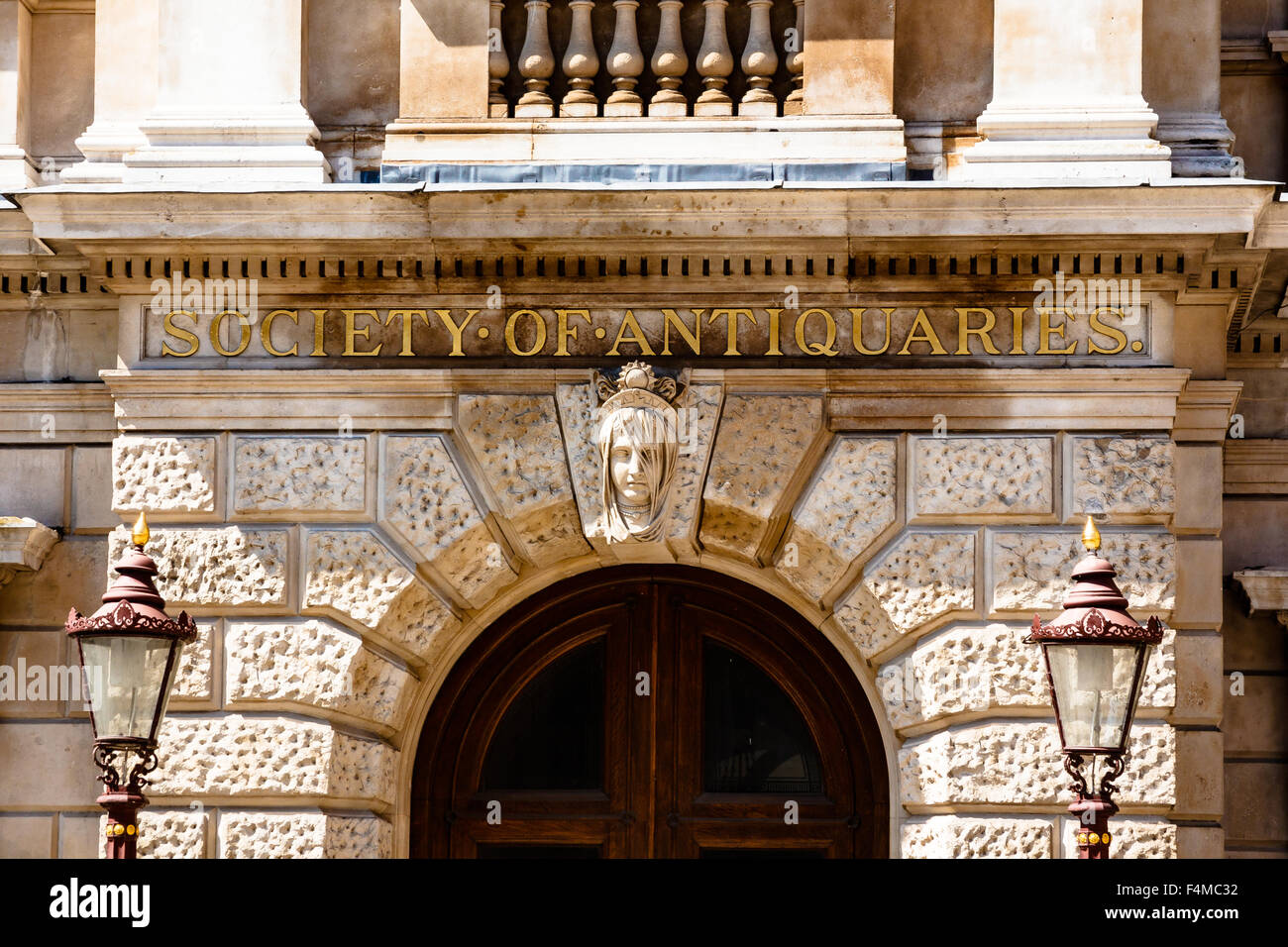 Doorway of Society of Antiquaries at Royal Academy of Arts, RAA, Burlington House, Piccadilly, London, England, - Stock Image