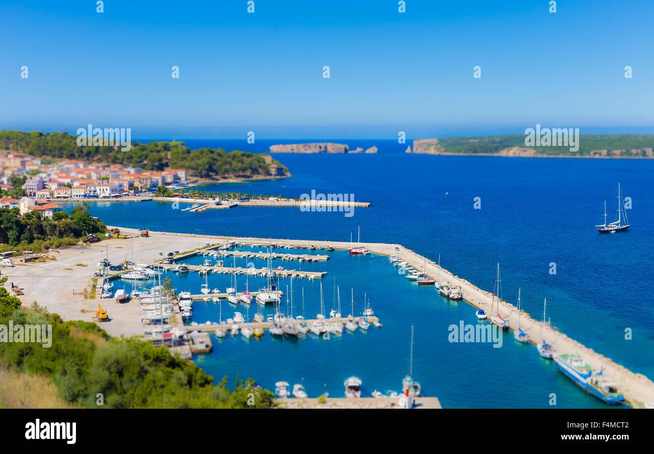 view on city of Pylos and Navarino bay - Stock Image