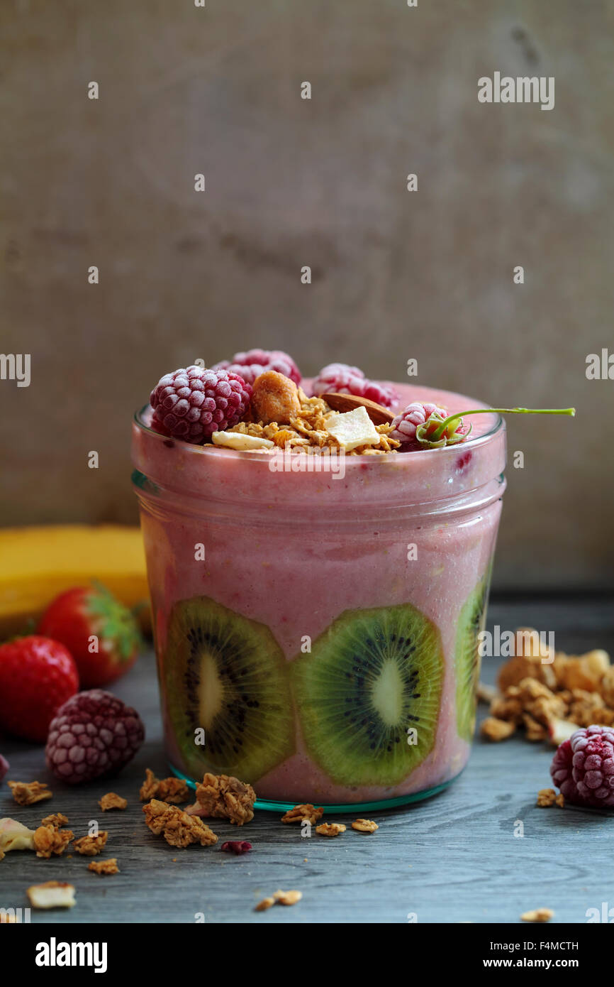 Mixed fruit smoothie - Stock Image