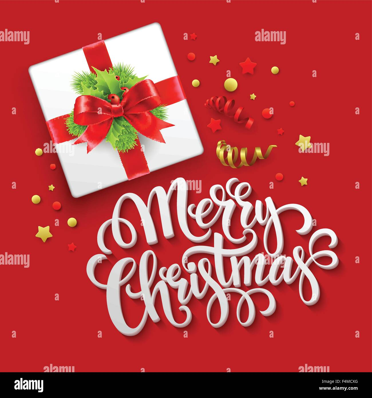 Merry Christmas Greeting Card Christmas Gift Box Vector Stock