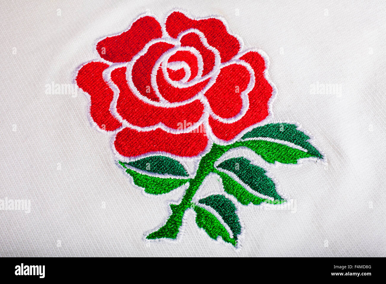 LONDON, UK - OCTOBER 19TH 2015: The red rose embroidered on an England Rugby Shirt, on 19th October 2015. - Stock Image
