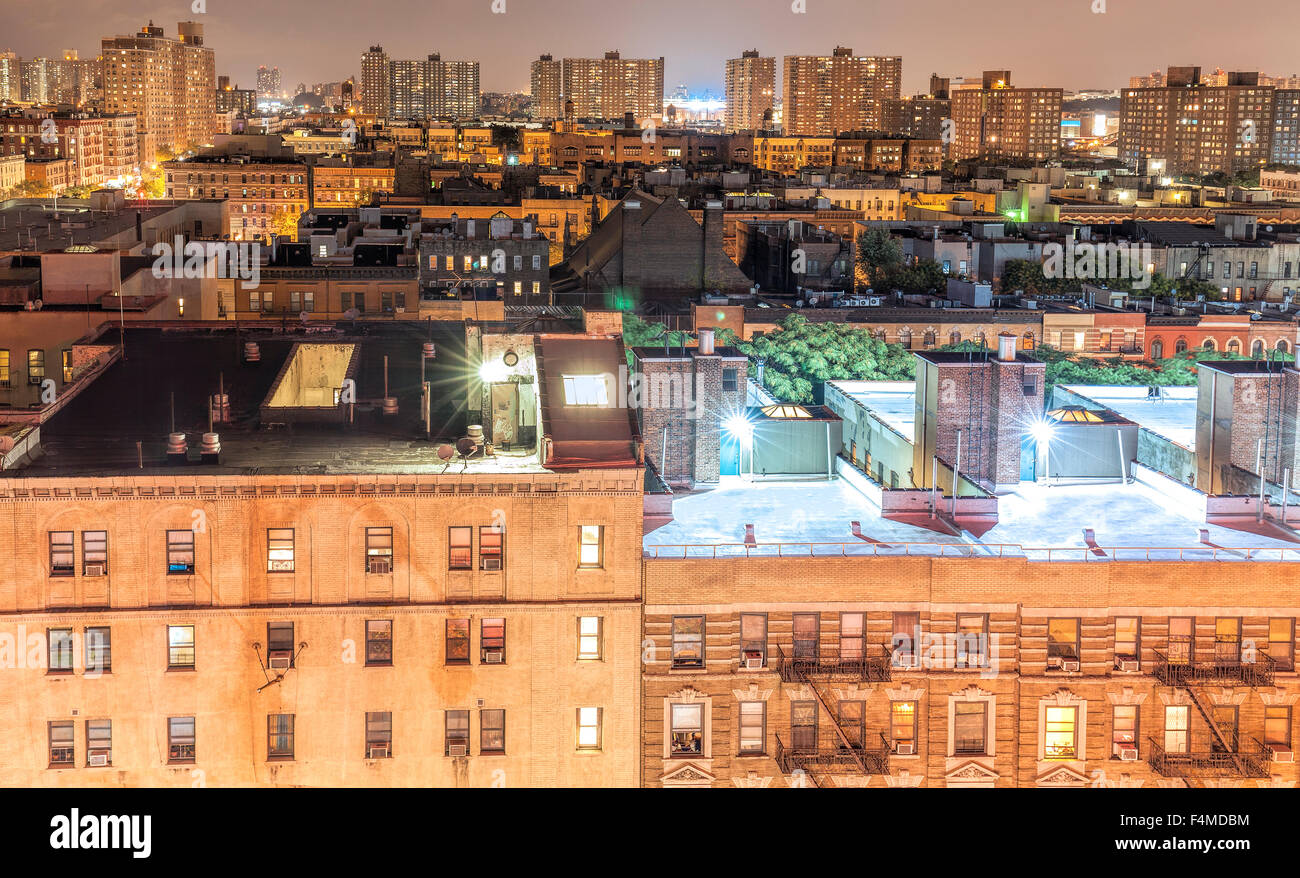 Harlem neighborhood at night, New York City, USA. - Stock Image