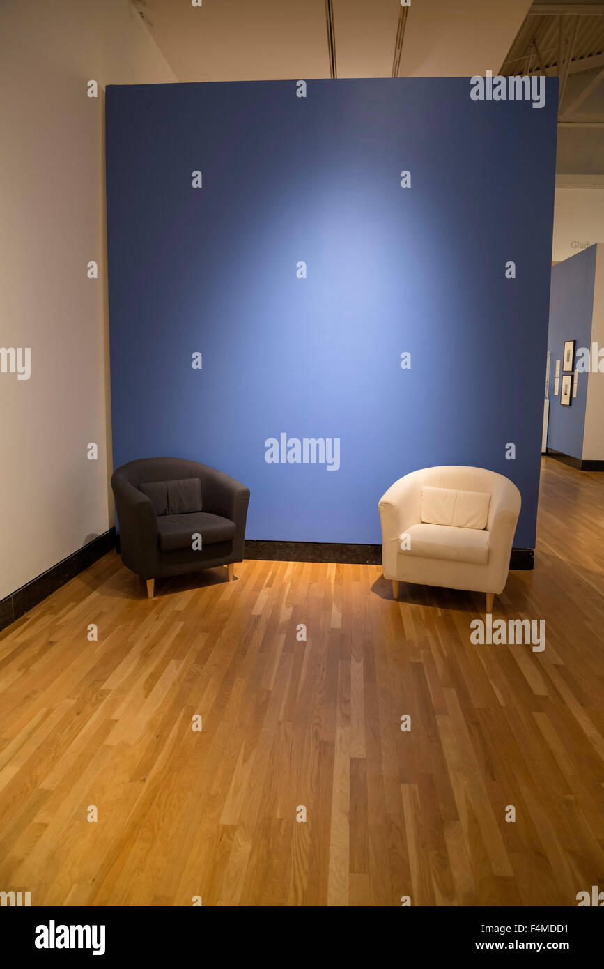 Sitting area inside at museum. - Stock Image