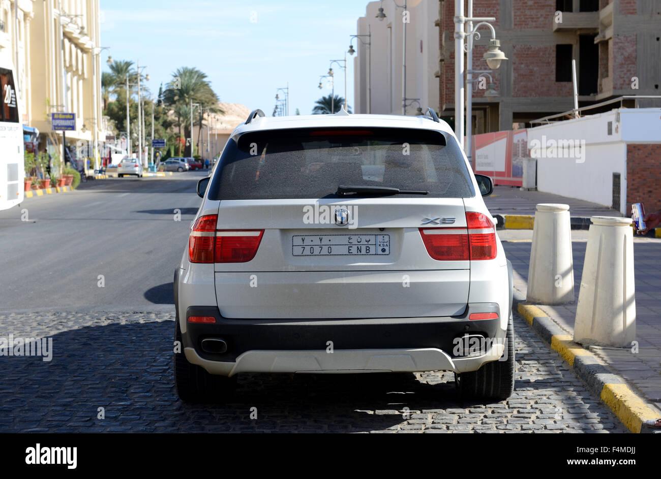 The BMW X5 parked near luxury hotel, Hurghada, Egypt - Stock Image