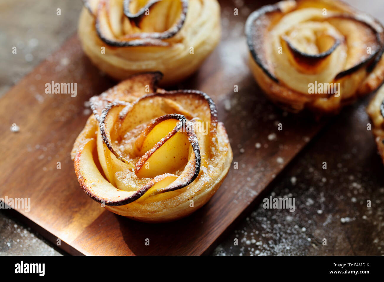 Puff pastry apple roses - Stock Image
