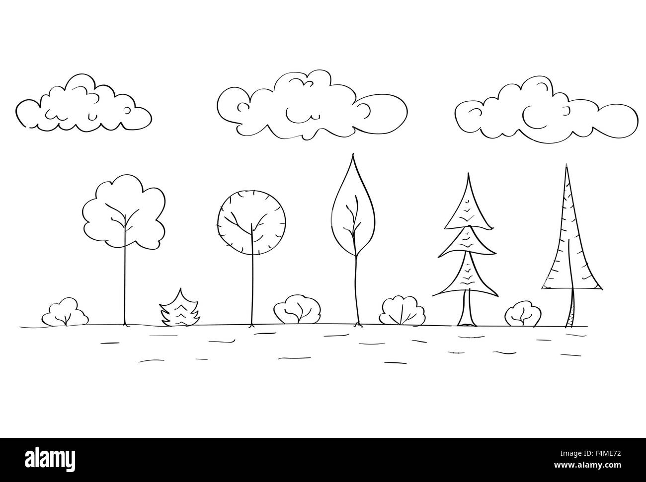 Simple Line Art Designs : Forest tree woods sketch simple line child hand drawing stock vector
