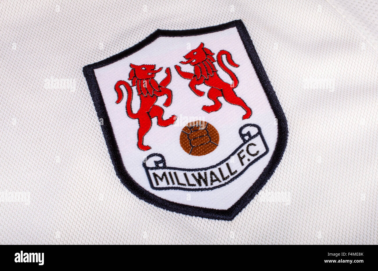 LONDON, UK - OCTOBER 19TH 2015: The club crest on a Millwall FC shirt, on 19th October 2015. - Stock Image