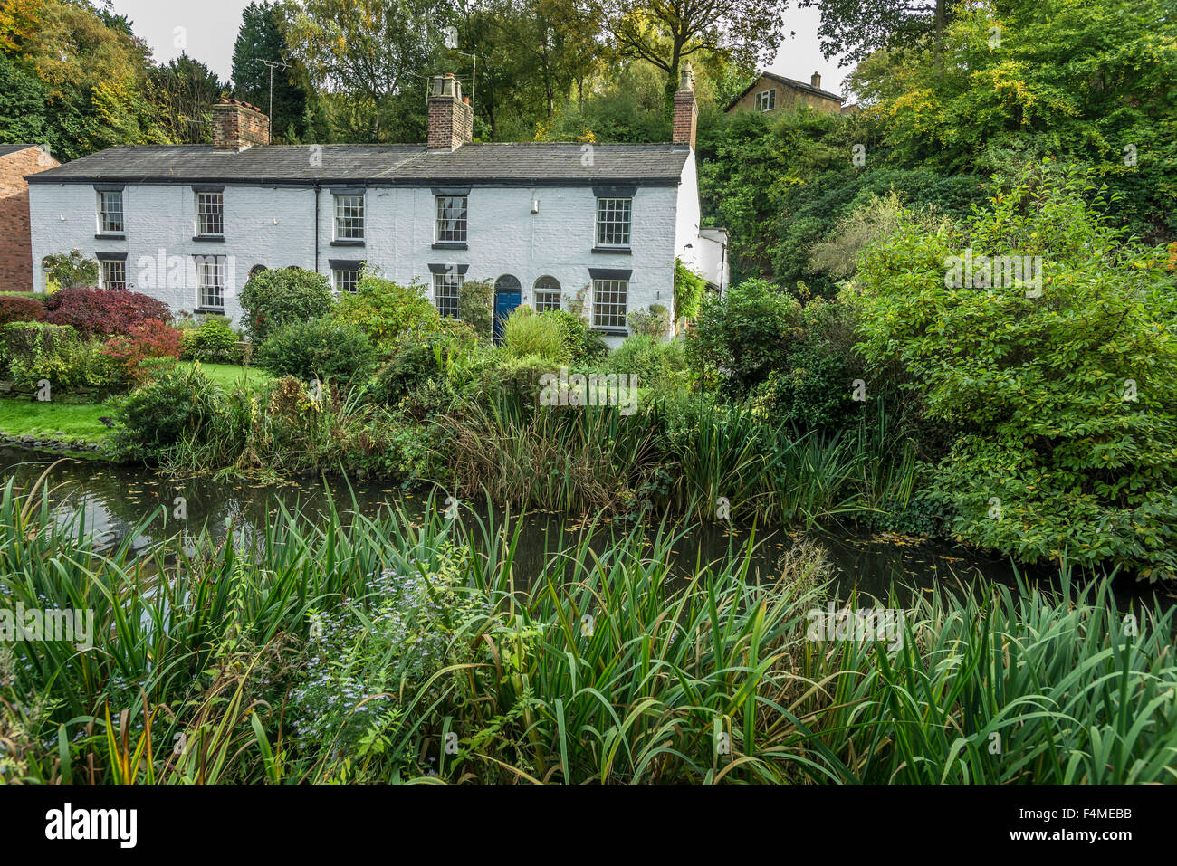 The Grove cottages in Lymm near Warrington. Cheshire North West England. - Stock Image