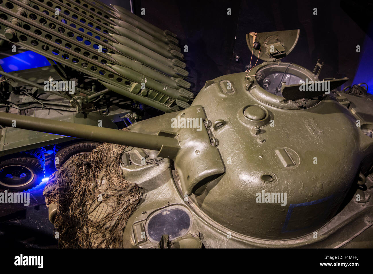 WW2 Soviet Katyusha multiple rocket launcher and M4 Sherman tank turret in the Mémorial de Caen, war museum - Stock Image
