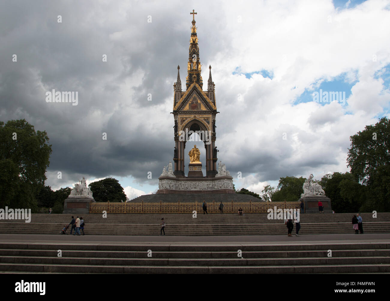 The Albert Memorial Kensington Gardens London - Stock Image