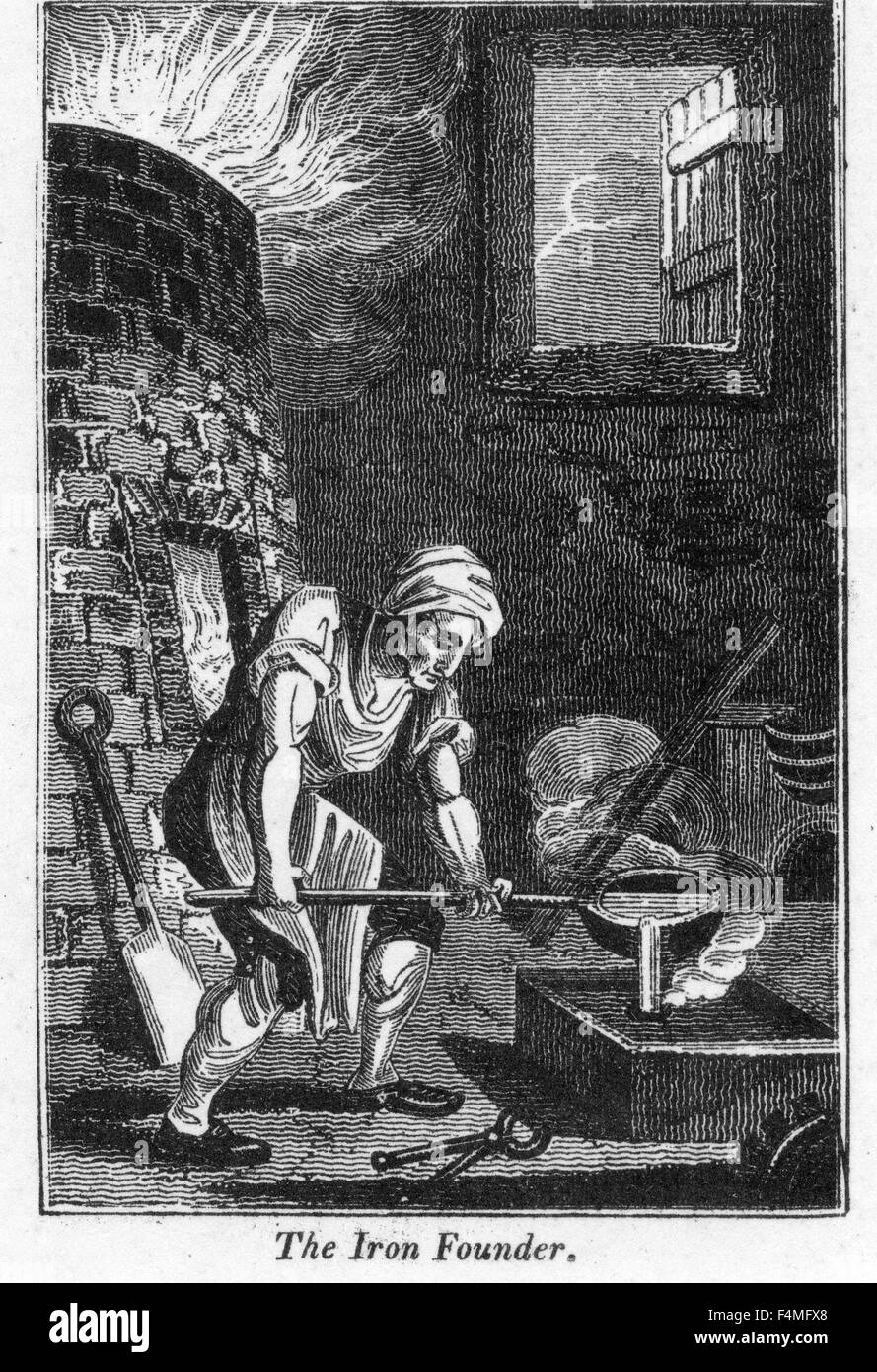 IRON FOUNDRY 'The Iron Founder' from the 1823 Book of Trades - Stock Image