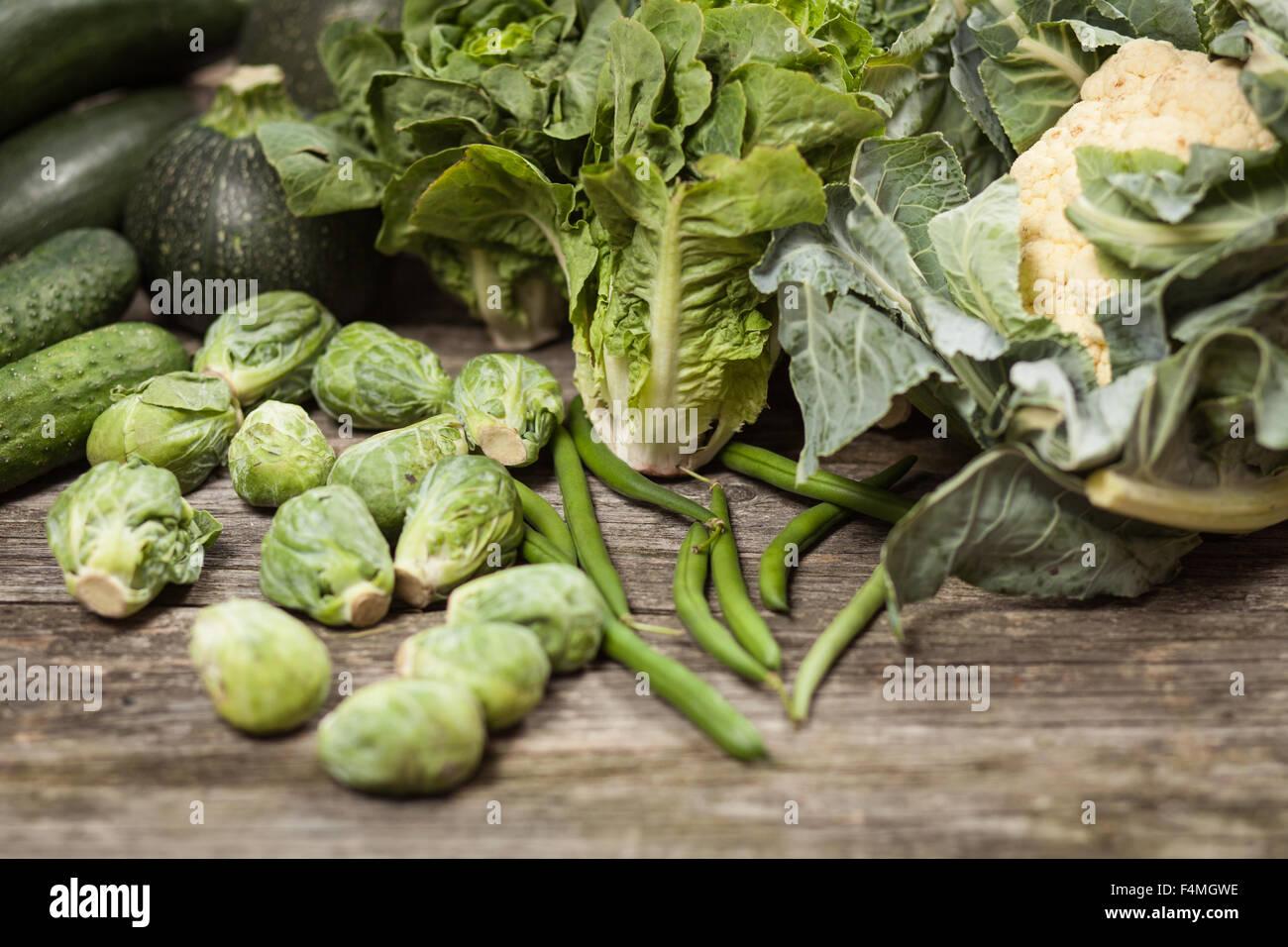 Assortment of green vegetables - Stock Image