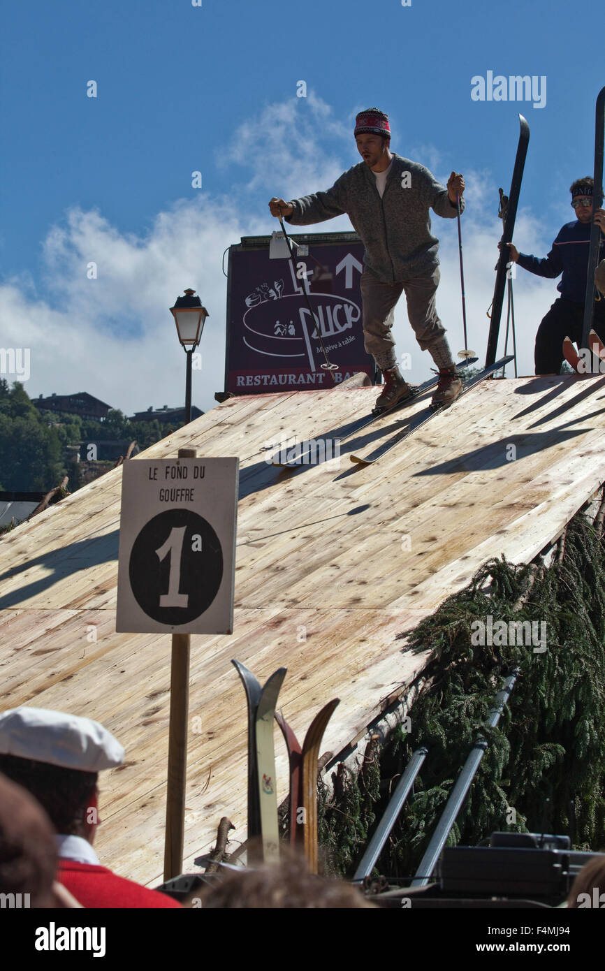 Megève :  ski on wooden planks Stock Photo