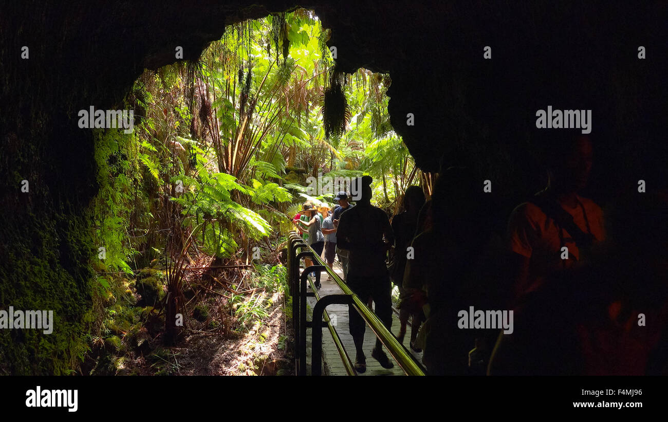 Tourists entering the Thurston Lava Tube in Hawaii Volcanoes National Park Stock Photo