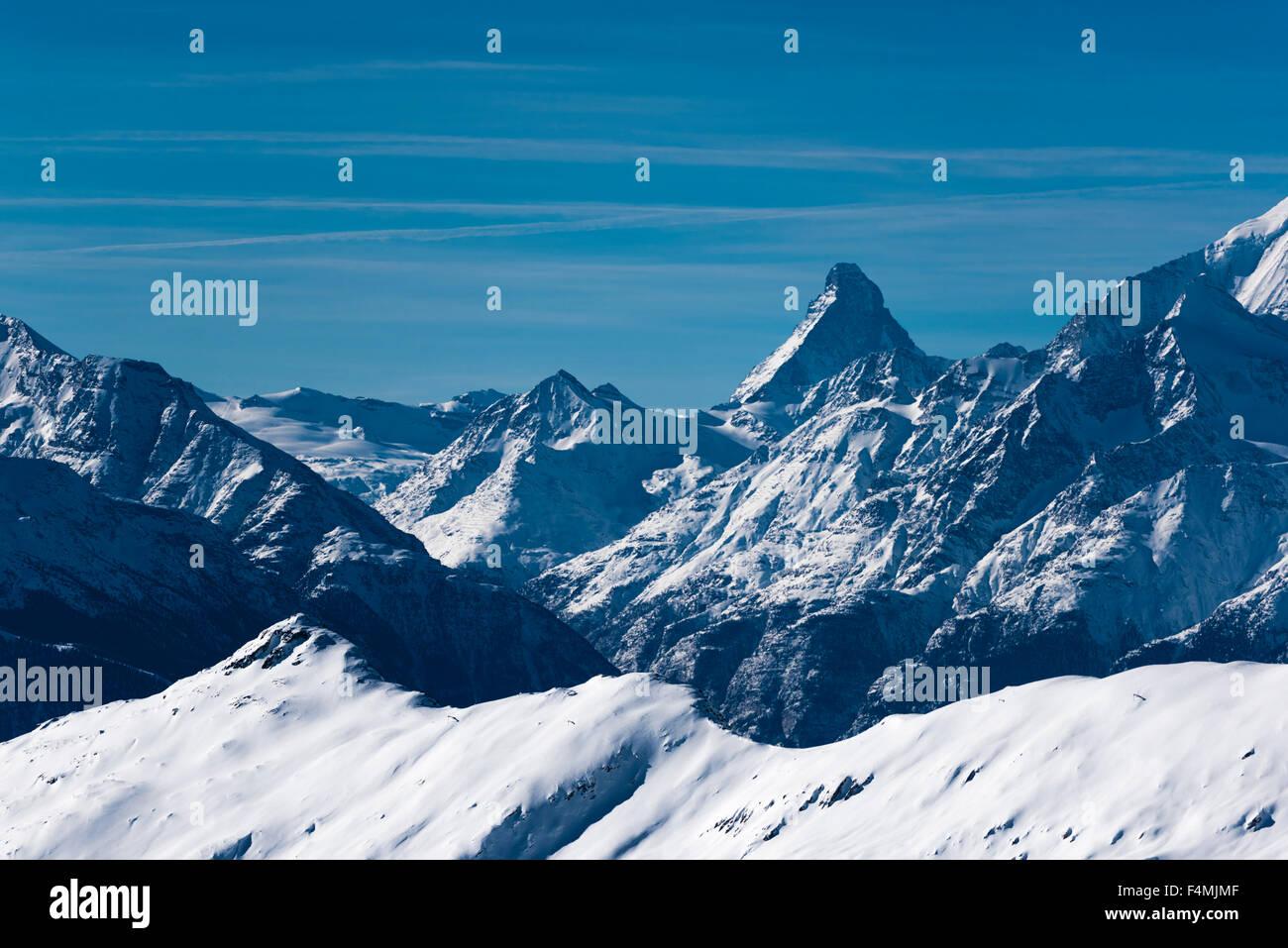 Valais alps with mount Matterhorn, seen from Belalp, Switzerland (canton Valais) - Stock Image