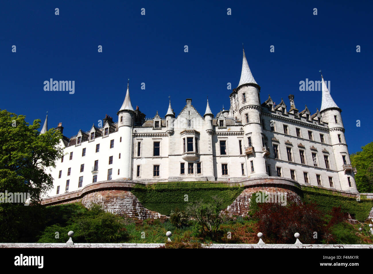 Dunrobin Castle, Golspie, Sutherland, Scotland on a sunny day with blue skies Stock Photo
