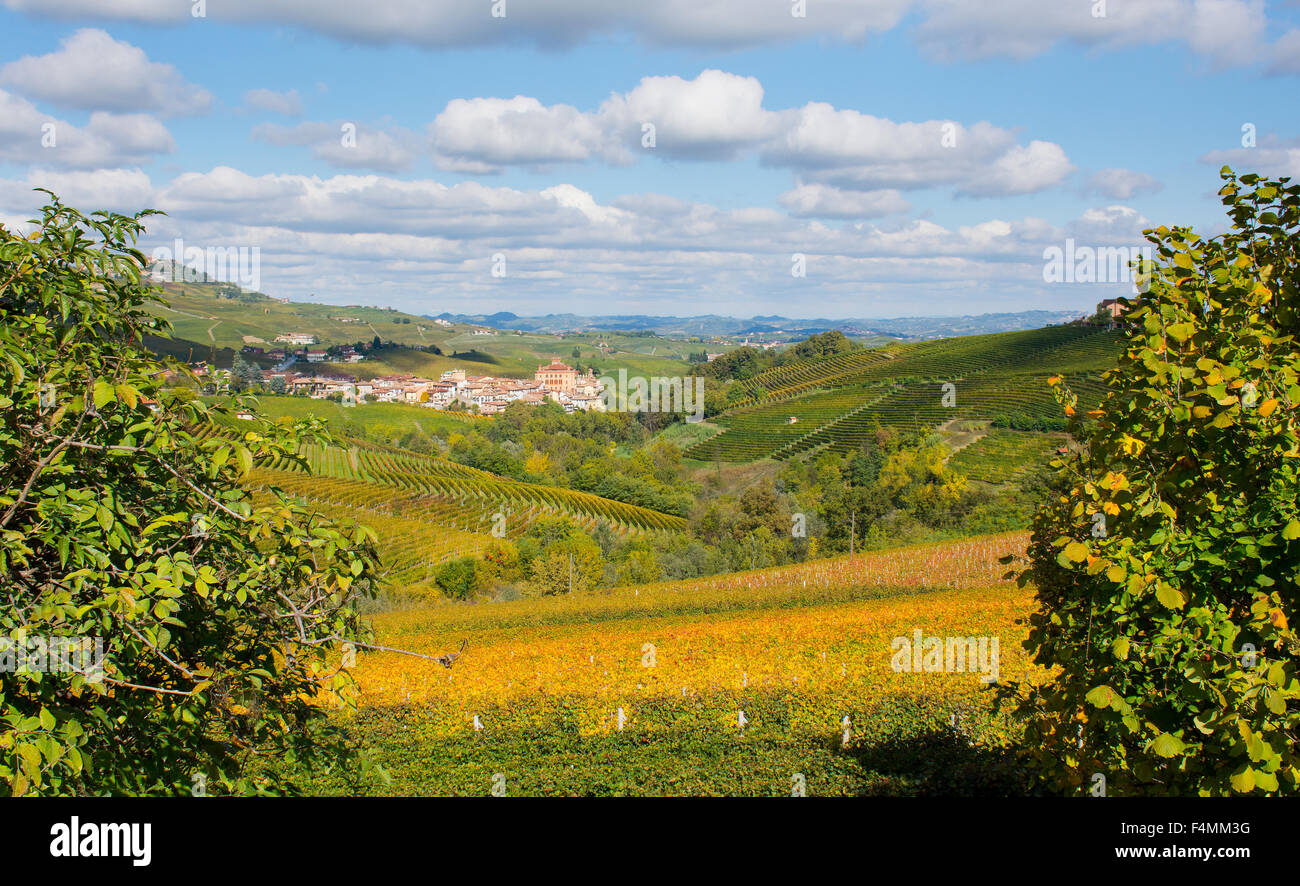 Piedmont, Italy, Langhe-Roero and Monferrato in the UNESCO World Heritage List: colourful vineyards. - Stock Image