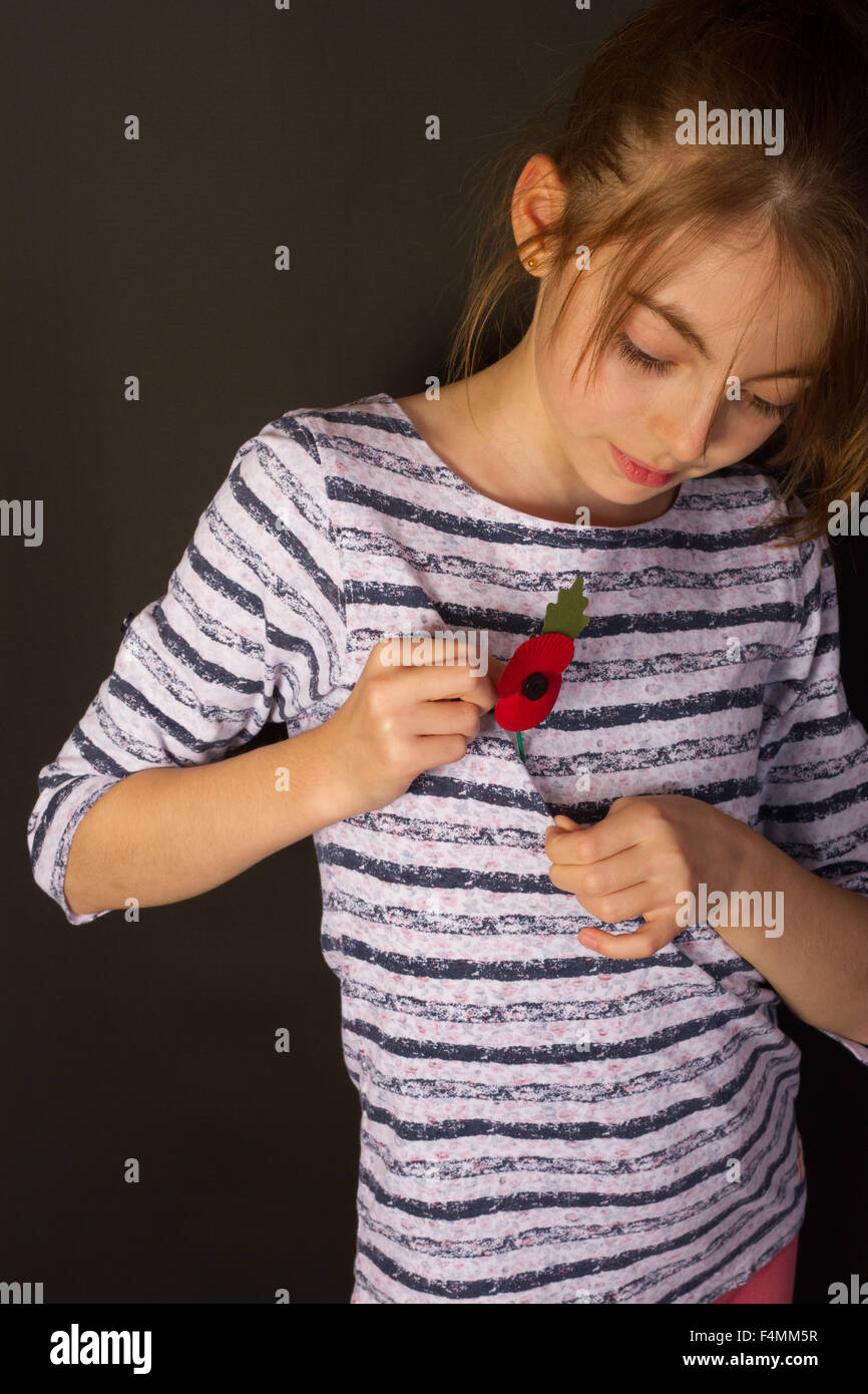 young girl showing respect for British legion poppy appeal for Remembrance Sunday November 08th 2015 - Stock Image